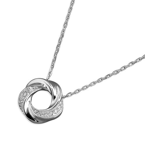 Seodra Sterling Silver & Cubic Zirconia Open Knot Necklace