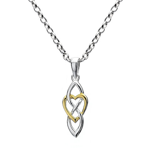 Celtic Lands Silver & Gold Plate Heart & Knot Jewellery Necklace
