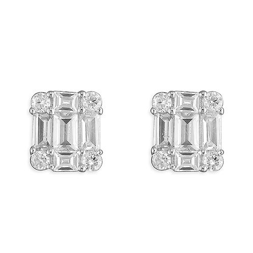 Seodra Sterling Silver & Cubic Zirconia Vintage Baguette Stud Earrings
