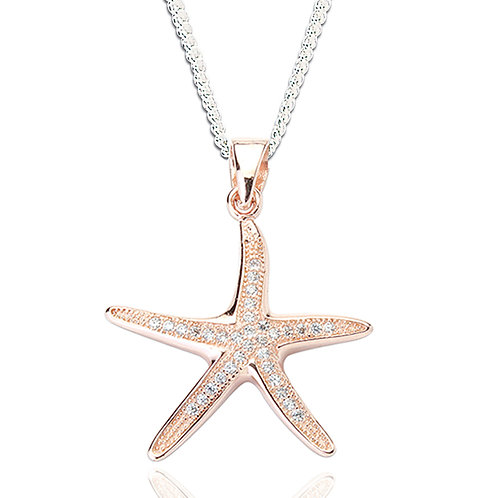 Seodra Sterling Silver & Rose Gold Starfish Necklace