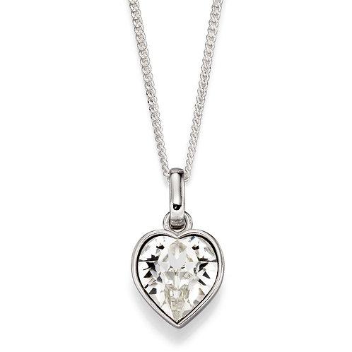 White Swarovski Crystal Heart Necklace