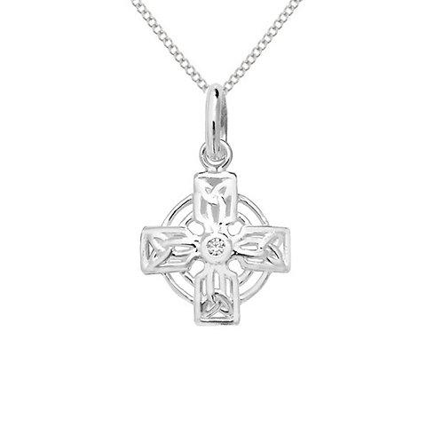 Seodra Sterling Silver & Cubic Zirconia Celtic Cross