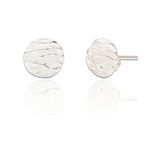 Seodra Sterling Silver Ruched Ear Studs