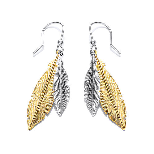 Seodra Sterling Silver Two Tone Feather Earrings