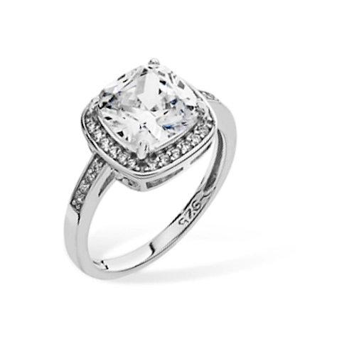 Seodra Silver Cushion Cut Halo Ring