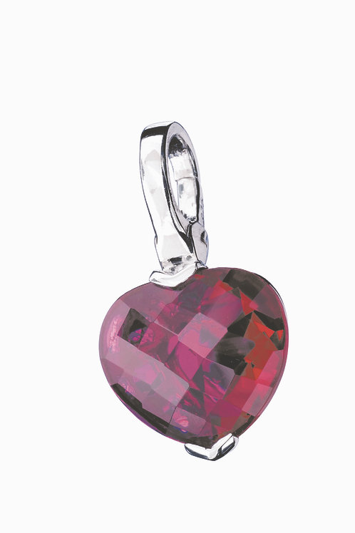 Giorgio Martello Lucky Charms: Sterling Silver Red Crystal Heart