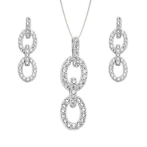 Seodra Sterling Silver & Cubic Zirconia Loop Necklace & Earring Set
