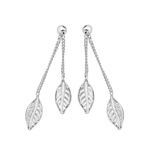 Seodra Sterling Silver Leaf Drop Earrings
