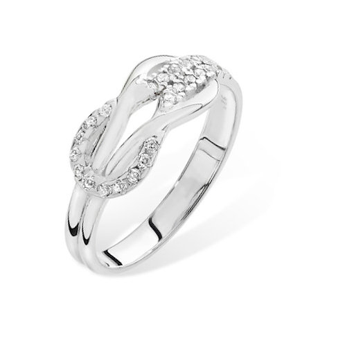 Seodra Silver and Cubic Zirconia Reef Knot Ring
