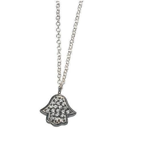 Seodra Sterling Silver & Cubic Zirconia Hamsa Necklace