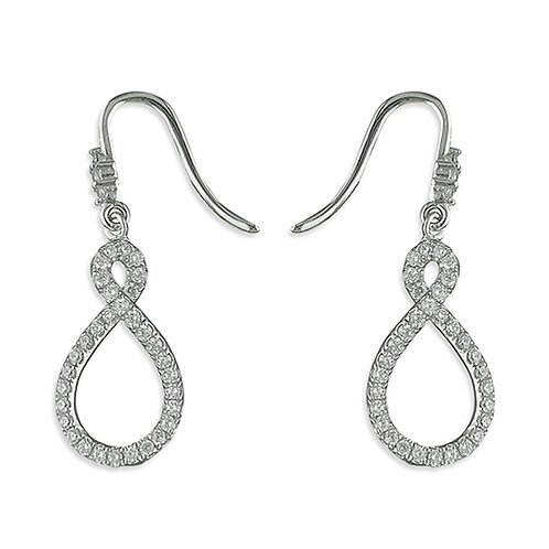 Seodra Sterling Silver & Cubic Zirconia Infinity Twist Drop Earrings