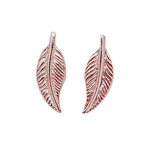 Seodra Sterling Silver with Rose Gold Feather Earrings