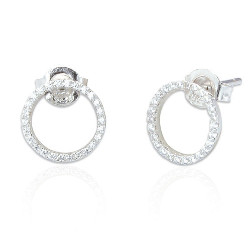 Seodra Sterling Silver & Cubic Zirconia Circle of Life Earrings