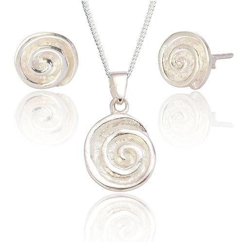 Seodra Sterling Silver Spiral Pendant & Earring Set