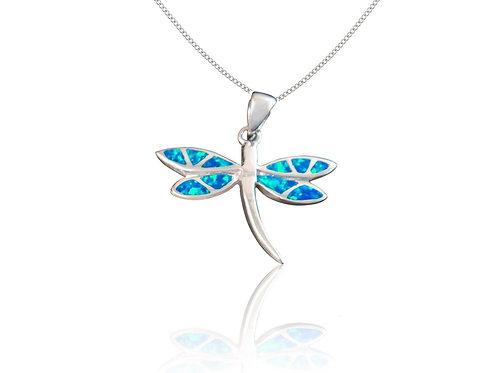 SEODRA Silver & Opal Dragonfly Necklace