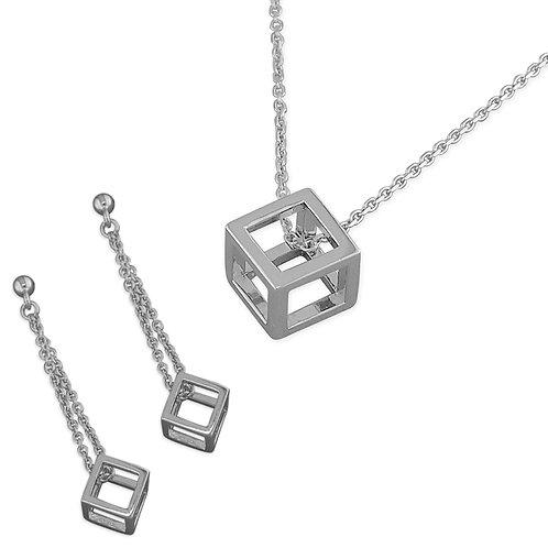 Seodra Sterling Silver Cube Necklace & Earrings Set