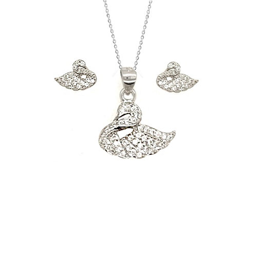 Seodra Sterling Silver & Cubic Zirconia Swan Necklace and Earrings Set