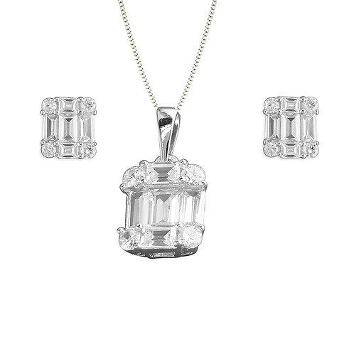 Seodra Sterling Silver Baguette Cut Necklace & Earrings Set