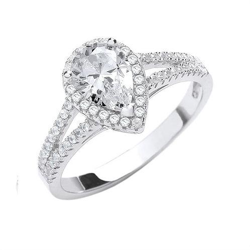 Seodra Sterling Silver Pear Shape Halo Ring