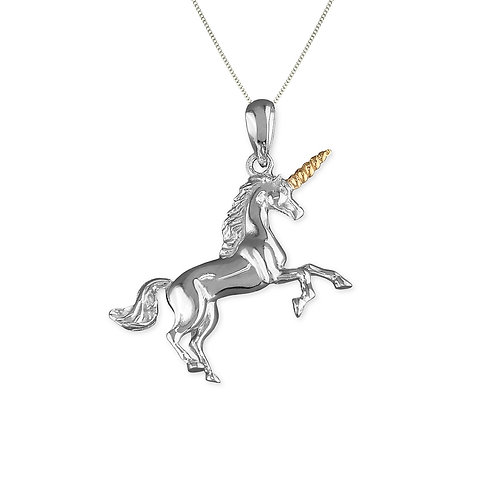 Seodra Sterling Silver & Gold Unicorn Necklace