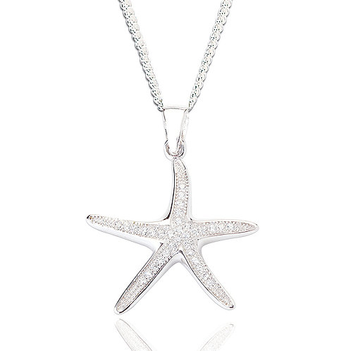 Seodra Sterling Silver & Cubic Zirconia Starfish Necklace