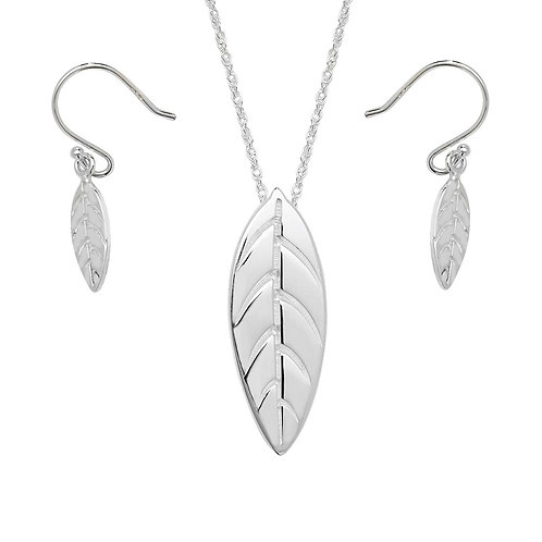 Seodra Sterling Silver Polished Leaf Necklace & Earrings Set