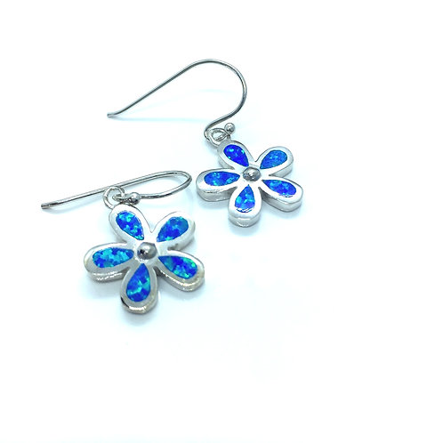 Seodra Sterling Silver & Blue Opal Flower Earrings