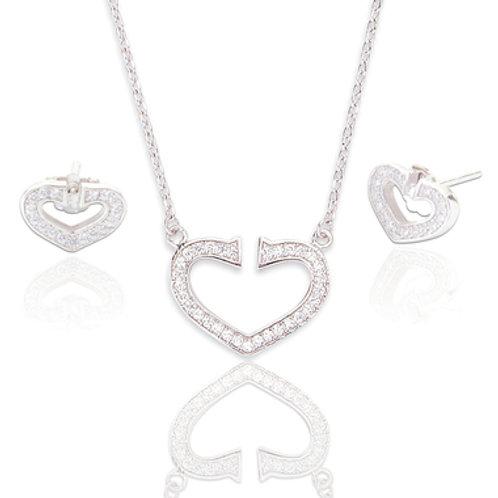 Seodra Sterling Silver & Cubic Zirconia Heart Set