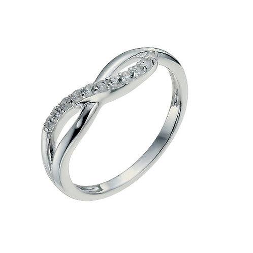 Seodra Sterling Silver & Cubic  Zirconia Ribbon Twist Ring