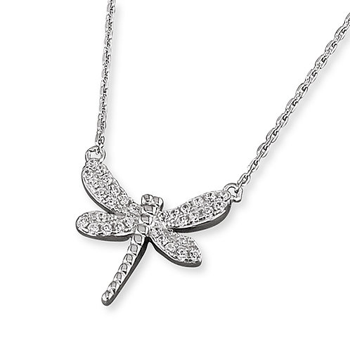 Seodra Sterling Silver & Cubic Zirconia Dragonfly  Necklace