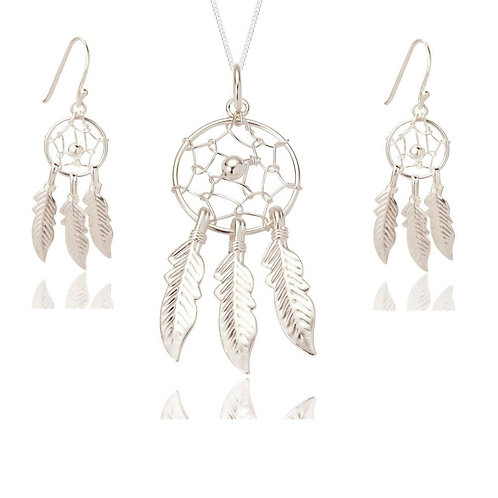 Seodra Sterling Silver Dreamcatcher Necklace & Earring Set