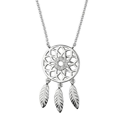 Seodra Silver & Cubic Zirconia Dreamcatcher Necklace