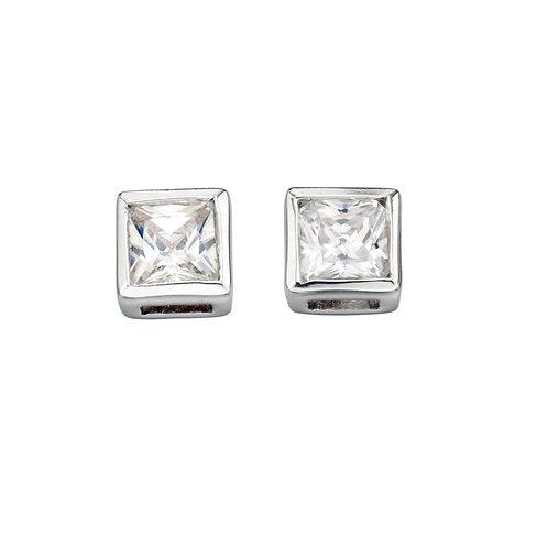 Seodra Sterling Silver & Cubic Zirconia Square Rubover Stud Earrings
