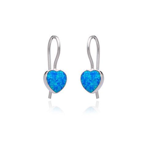 Seodra Sterling Silver & Blue Opal Heart Drop Earrings