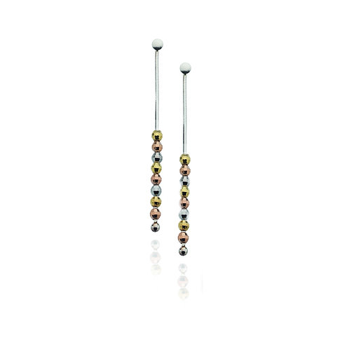 Virtue Exquisite Sterling Silver Three Colour Bead Earrings