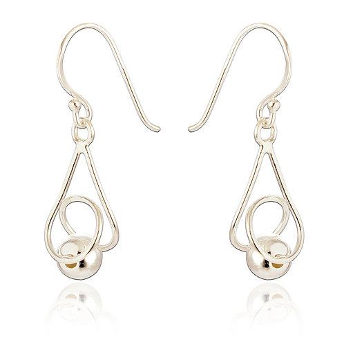 Seodra Sterling Silver Twisted Ball Drop Earrings