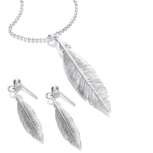 Seodra Sterling Silver Feather Necklace  & Earring Set