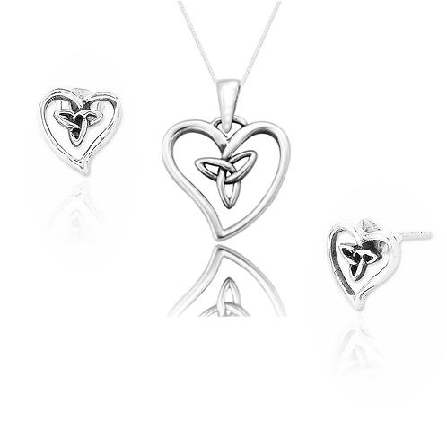 Seodra Sterling Silver Celtic Heart Necklace & Earrings Set