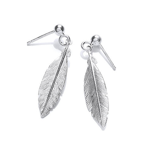 Seodra Sterling Silver Feather Earrings