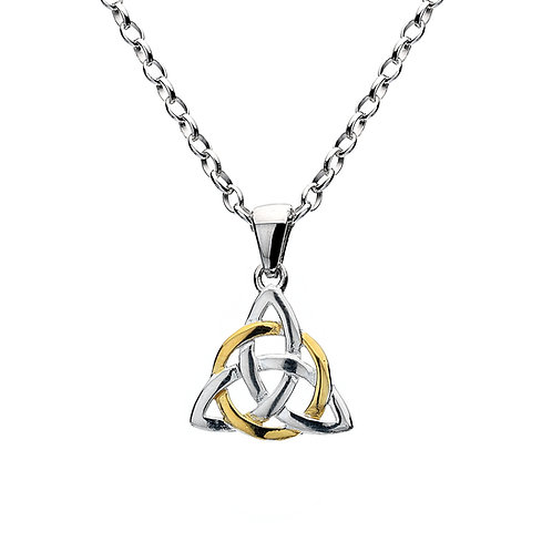 Celtic Lands Silver & Gold Plate Triangle Knot Necklace