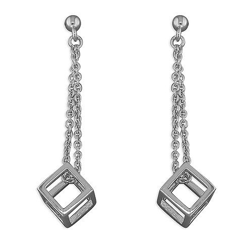 Seodra Sterling Silver Open Cube Drop Earrings