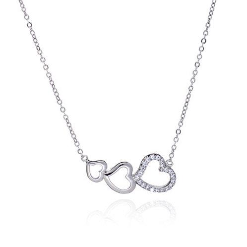 Seodra Sterling Silver Triple Heart  Necklace