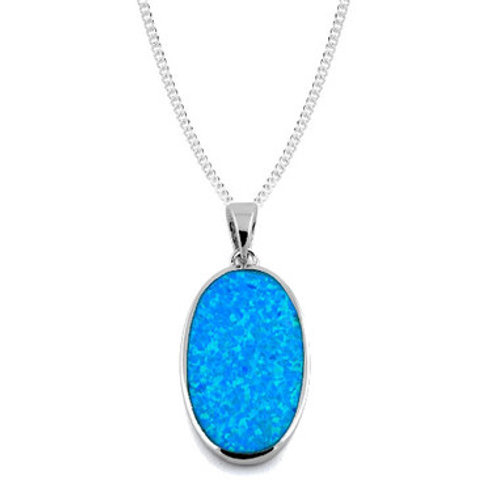 Seodra Sterling Silver & Blue Opal Large Oval Necklace