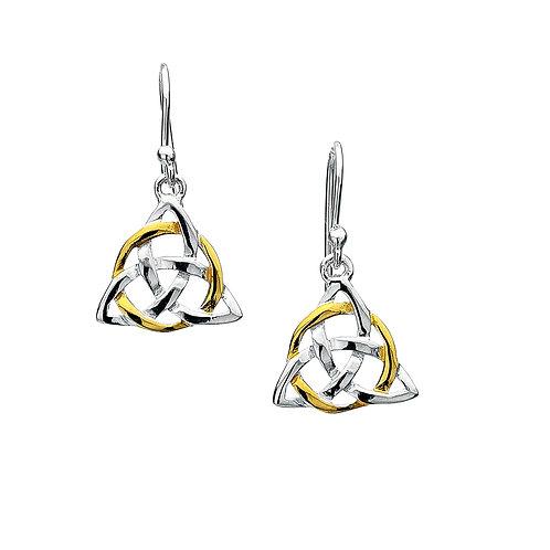 Celtic Lands Sterling Silver Triangle Knot Drop Earrings