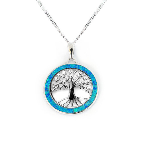 SEODRA Silver & Opal Tree of Life Necklace