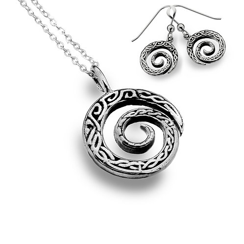 Celtic Lands Sterling Silver Spiral Knotwork Necklace & Earring Set