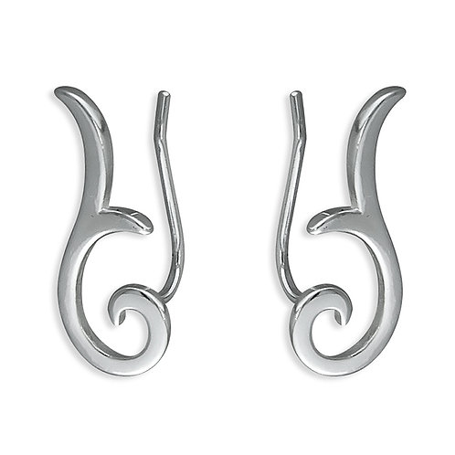 Seodra Sterling Silver Swirl Ear Crawler/Climber Earrings