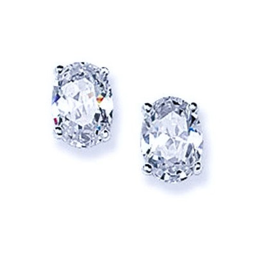 Seodra Sterling Silver & Cubic Zirconia Oval Stud Earrings