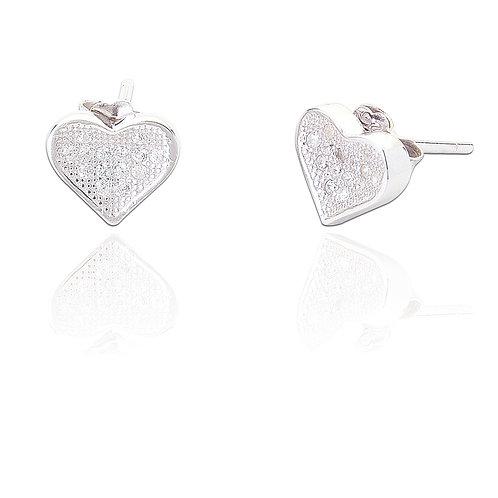 Seodra Sterling Silver & Cubic Zirconia Micro Set Heart Stud Earrings
