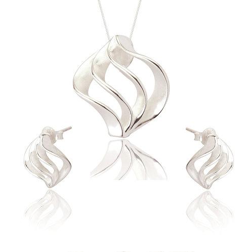 Seodra Sterling Silver Twirl Necklace & Earring Set